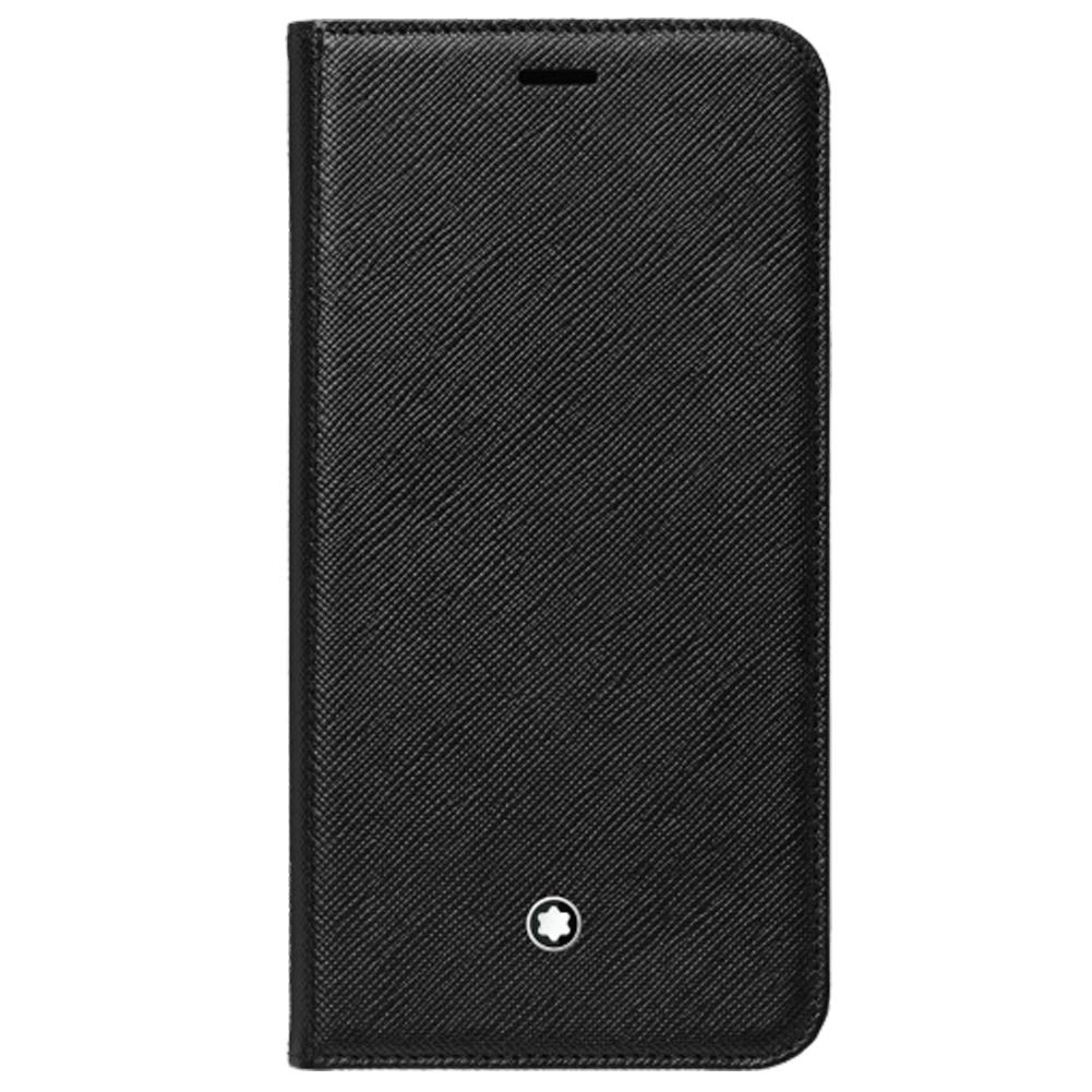Genuine Original Official Montblanc Sartorial Saffiano Leather Flip Side Cover Case with 2cc and View Pocket 124892 for Apple iPhone Xs