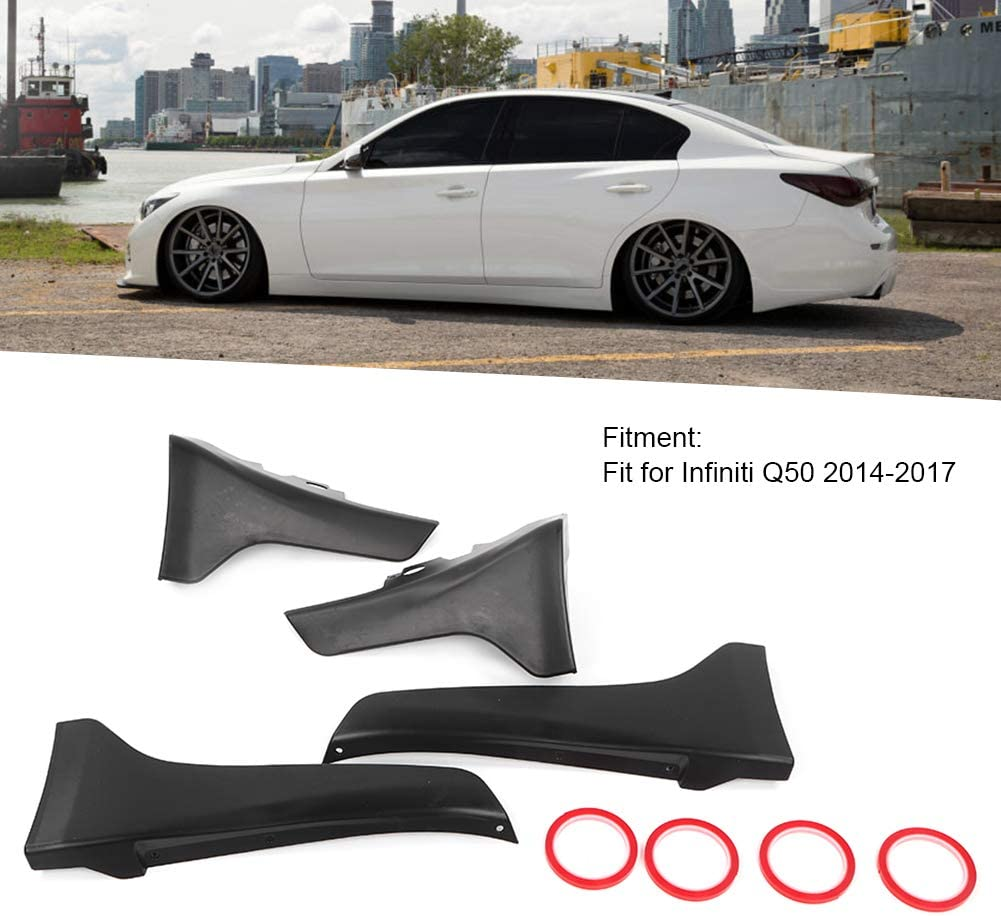 Fydun Car Rear Bumper Lip Diffuser Splitter Spoiler with Front Side Skirts Splash Guards Fit for Infiniti Q50 2014?2017