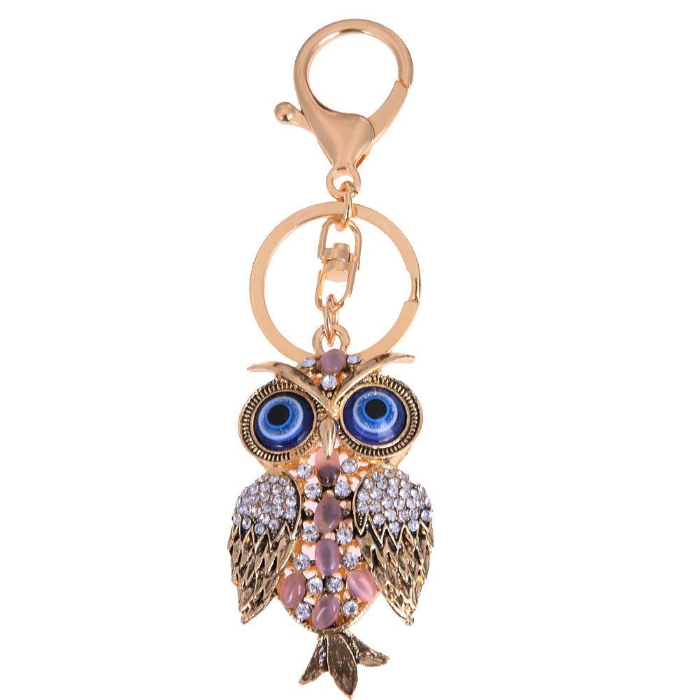GigaMax Evil Eye Owl Enamel Keychain for Women Lady Car Purse Bag Pendant Keyring