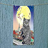 SOCOMIMI Absorbent Towel Musical Notes Cat with The Keyboard on Rooftops in Night Sky Old Town Soft Cotton Durable