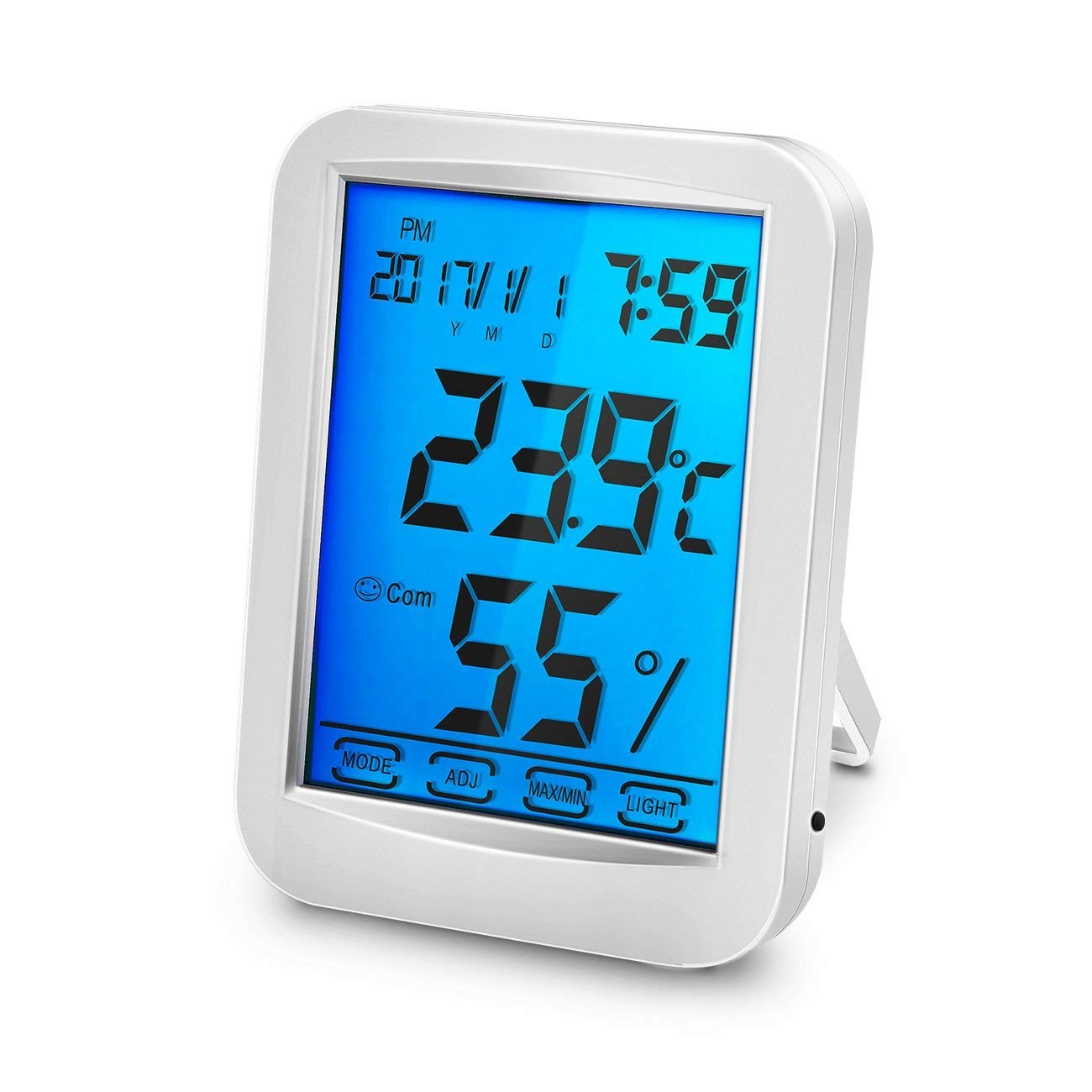 Allnice Digital Backlit LCD Indoor/Outdoor Thermometer Hygrometer with Large Screen Max/Mini Temperature and Humidity Values Clock Calendar and Alarm for Indoor and Outdoor (with Backlit)