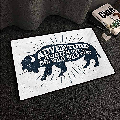 HCCJLCKS Non-Slip Door mat Adventure Hand Drawn Tribal Art Design with Buffalo Figure and Inspirational Phrase Non-Slip Door mat pad Machine can be Washed W35 xL59 Petrol Blue White]()