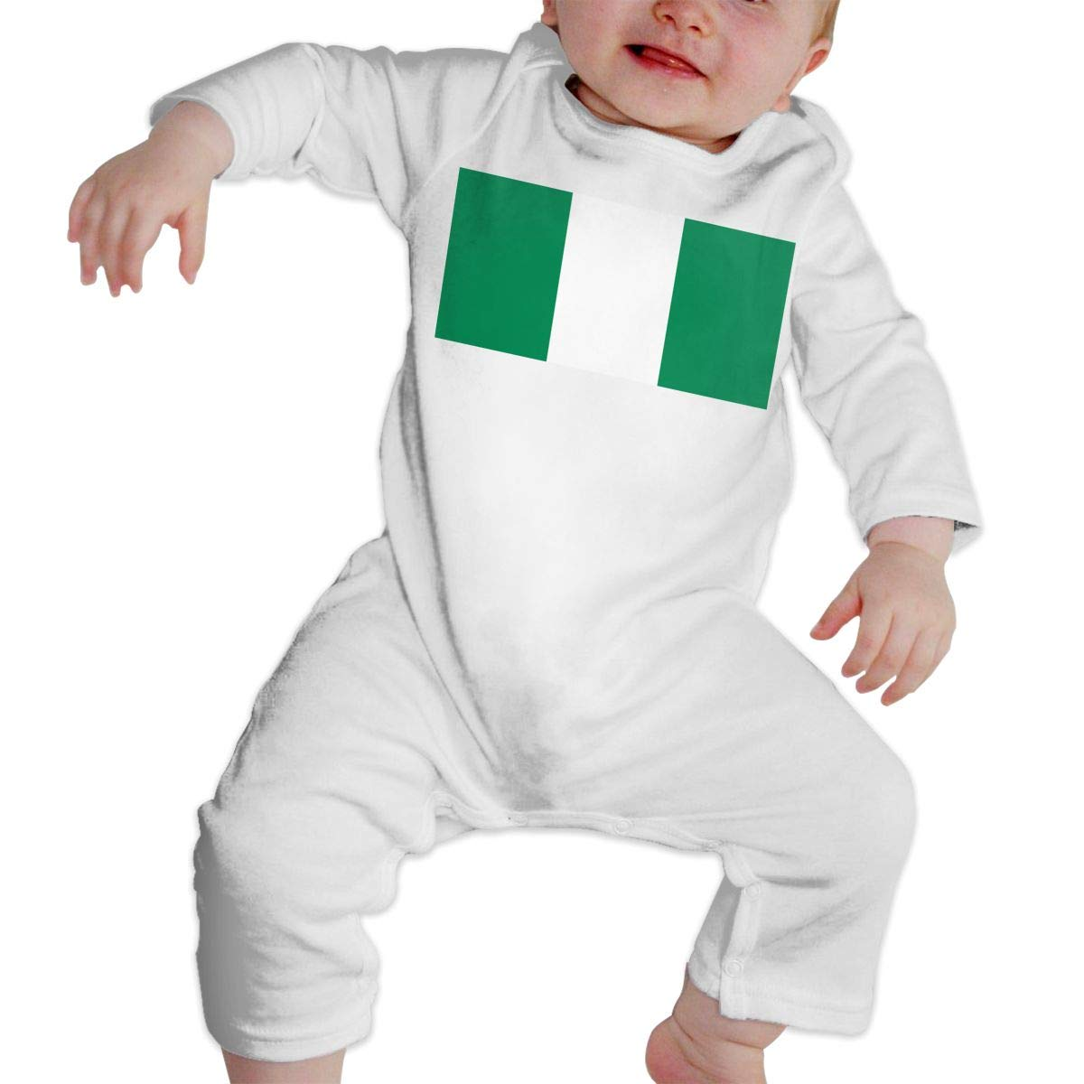 A1BY-5US Infant Babys Cotton Long Sleeve Nigerian Flag Romper Bodysuit Funny Romper Clothes
