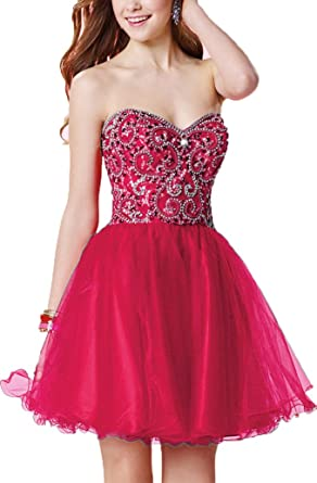 Onlybridal Womens Short Tulle Formal Dresses Heavy Beads Knee Length Junior Homecoming Dresses - Pink -