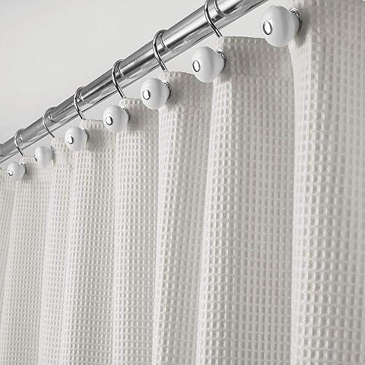 Cortina de ba/ño impermeable con moderno dise/ño de rayas blanco y azul claro mDesign Cortina de ducha de lujo Accesorio para ducha de cuidado f/ácil