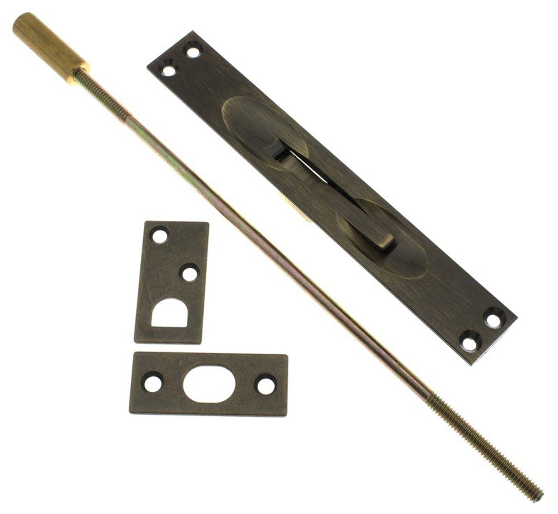 IDHBA 11020-005 Professional Grade Quality Solid Brass Extension Flush Bolt UL Standard 12'' Rod, Inch, Antique by IDHBA