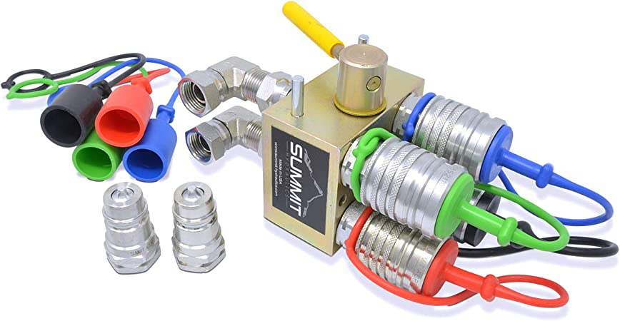 Hydraulic Multiplier Turn 1 Circuit into 2 Circuits! SCV Splitter Diverter Manifold Valve Kit with Couplers and Switch Box Control