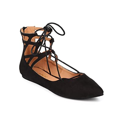 Liliana DC48 Women Suede Gilly Tie Pointy Toe Zip Ballet Flat - Black