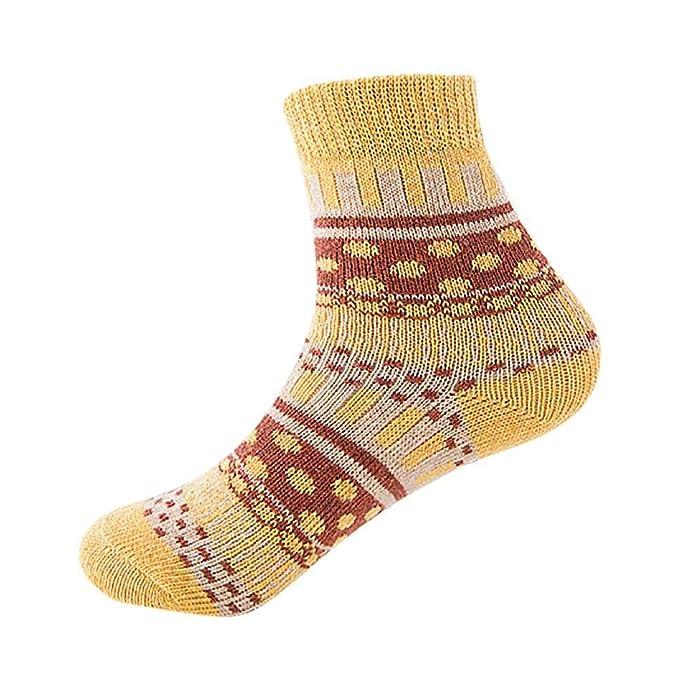 VJGOAL Invierno mujer de moda casual Vintage liso tejido fino impresión suave gruesa calcetines de lana