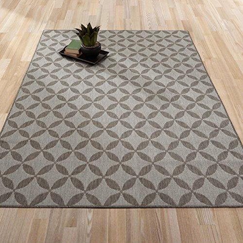 Ottomanson Jardin Collection Contemporary Star Design Indoor/Outdoor Jute Backing Lattice Area (Large Sisal Rugs)