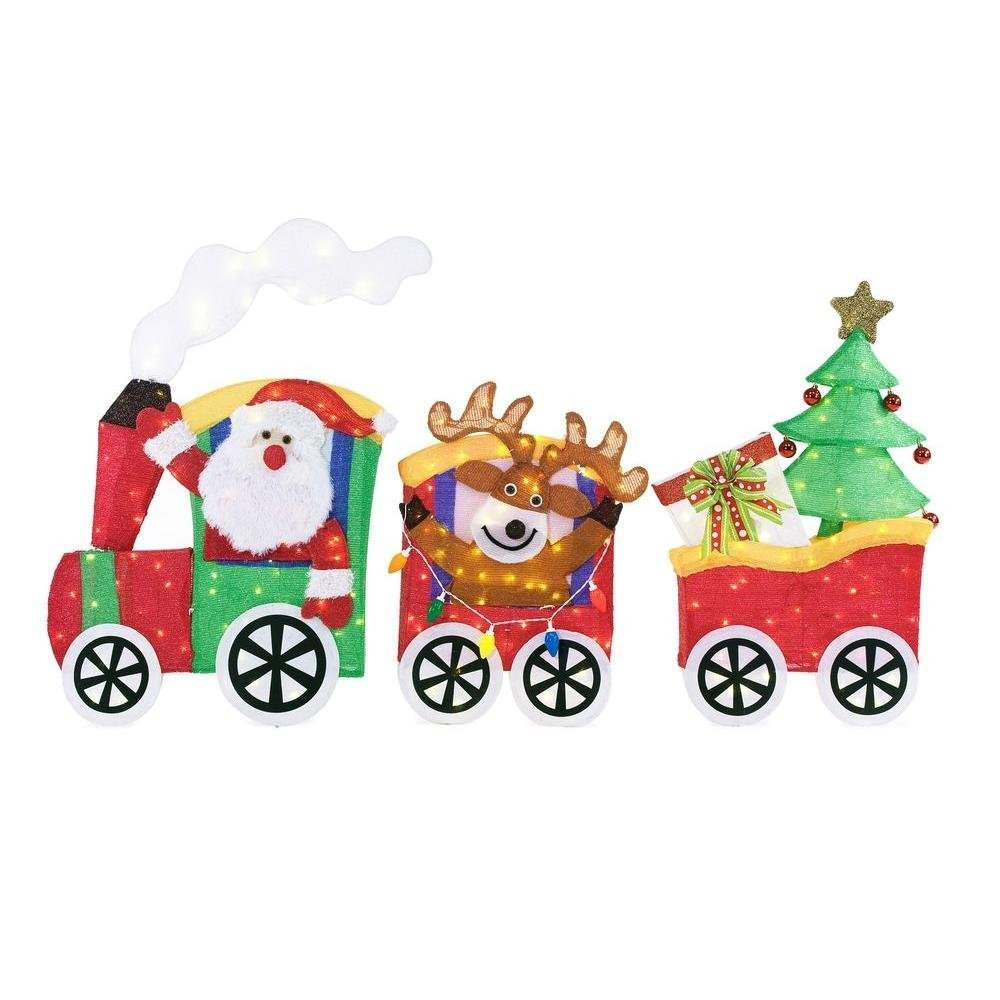 75.5 in Long LED Lighted Tinsel Santa with Train Set Indoor Outdoor Yard Art