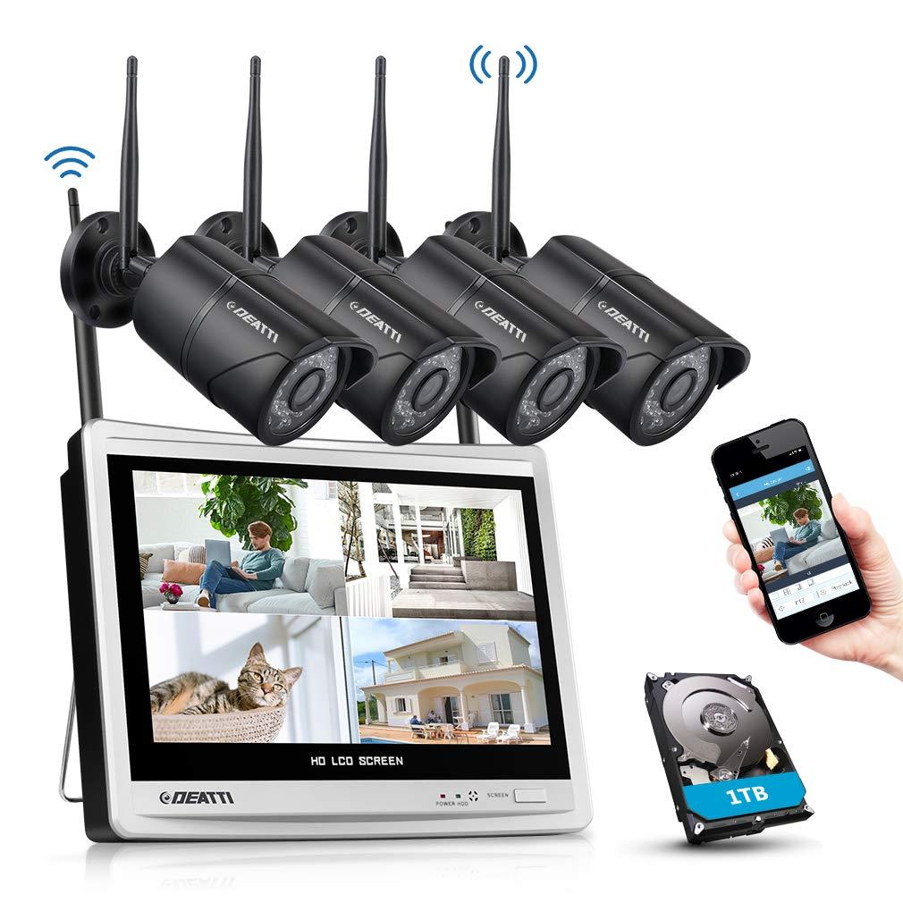 1TB HDD DEATTI Kit de Seguridad WiFi 4 C/ámaras 1080P Sistema de Vigilancia Inal/ámbrica 8CH HD NVR 12 inch LCD Monitor Pantalla con 1TB Disco Duro CCTV IP66 Impermeable Visi/ón Nocturna