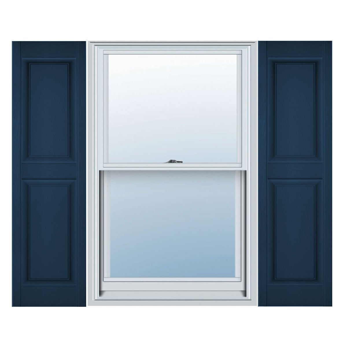 14 3/4''W x 71''H Standard Size Williamsburg Double Panel Shutters, w/Installation Shutter-Lok's, 036 - Classic Blue by Mid America (Image #1)