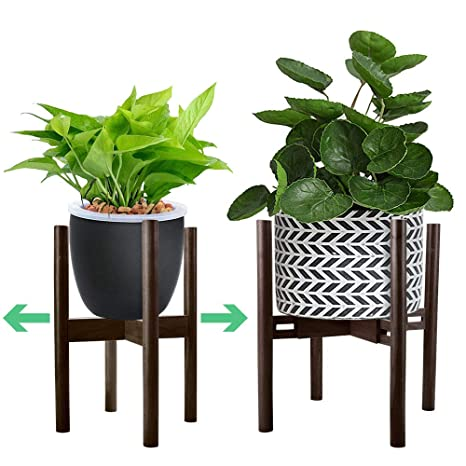 3228169c6587 Amazon.com : Adjustable Plant Stand Mid Century Modern Planter Stand Width  9