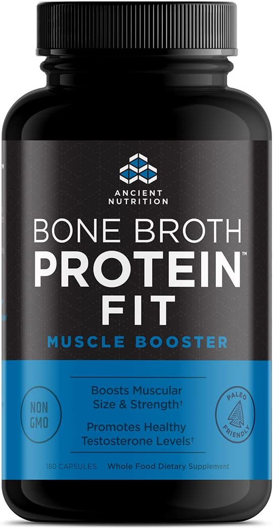 Ancient Nutrition Bone Broth Protein Fit Muscle Booster, 180 Capsules Boosts Muscle Size and Strength