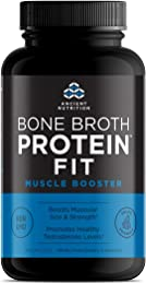 Ancient Nutrition Bone Broth Protein FIT Muscle Booster, Capsules 180 Count - Boosts Muscle Size and Strength