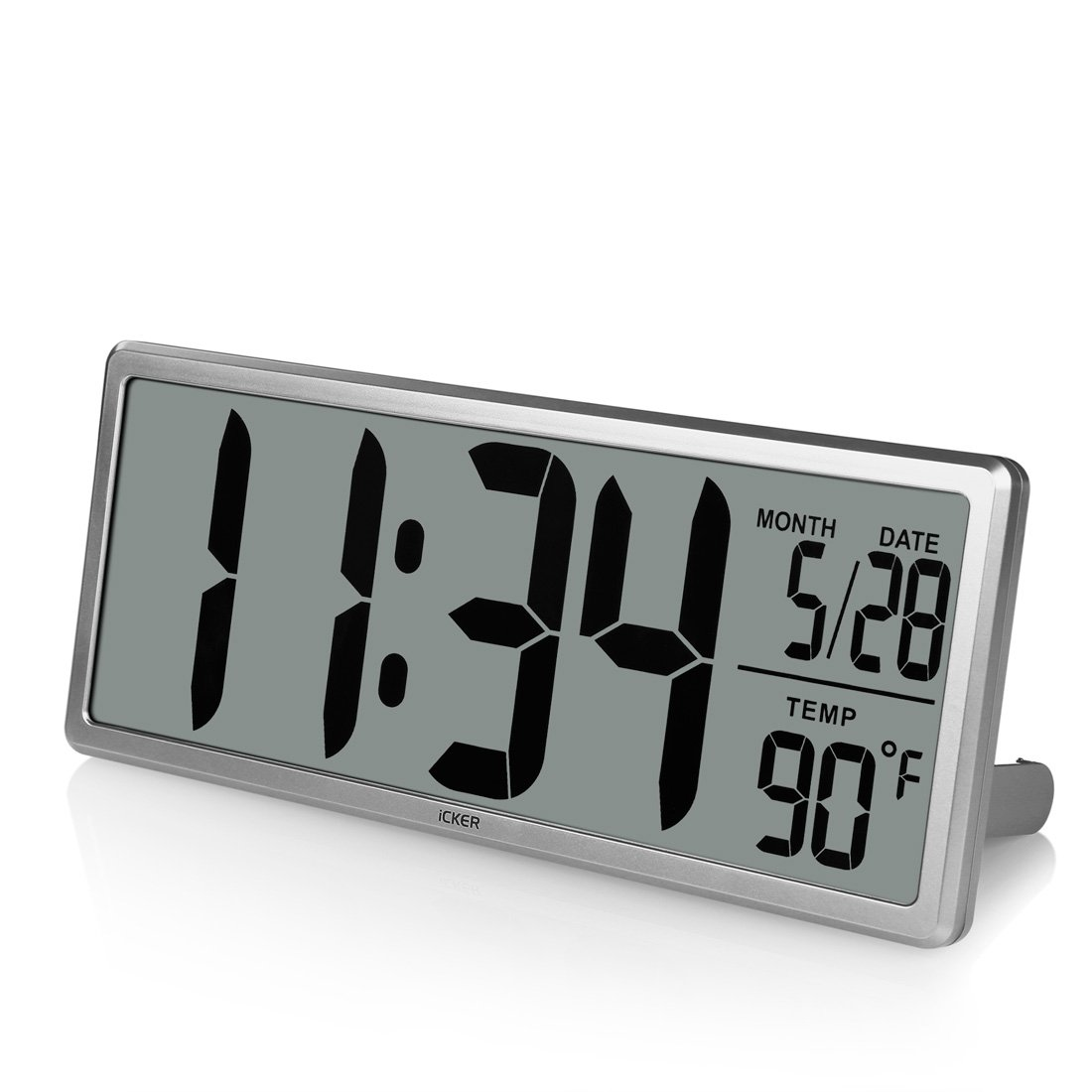 """iCKER 13.8"""" Jumbo LCD Digital Alarm Clock Battery Operated, Large Wall Clock Displays Temperature and Calendar, Desk Clock with Snooze, Battery Backup, Button Cell Battery Included, Silver"""