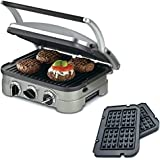 Cuisinart 5-in-1 Grill Griddler Panini Maker Bundle with Waffle Attachment (GR-4N) - Includes Grill and Waffle Plates