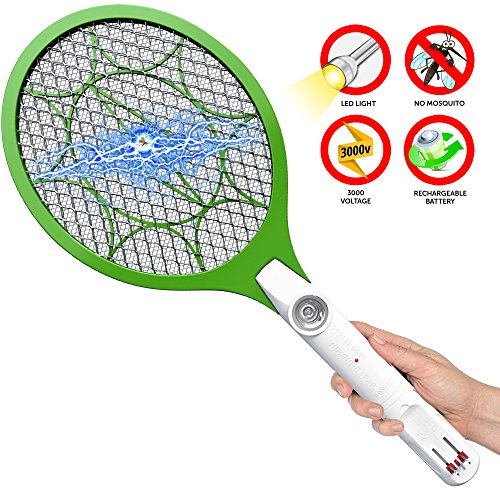 Bug Zapper Rechargeable Racket, Insect Fly Killer, Mosquito Repellent Electric Swatter, Eliminates Most Flying Pests, LED Flashlight, Unique 3-Layer Safety Mesh