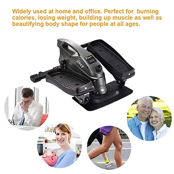 iDeer Life Under Desk&Stand Up bicicleta de ejercicio, Mini Elliptical Stepper Peddler Zapatillas con Resistencia ajustable y pantalla LCD, ...