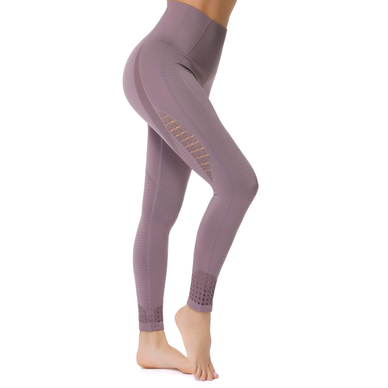 3 Deep Purple(Upgraded) RIOJOY Yoga Pants for Women Hollow Out Elastic Waist Tummy Control Stretchy Pants Fitness Leggings Gym Compression Sports Tights