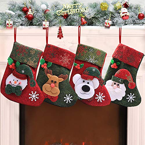 Rongyuxuan 4 Pack 3D Mini Christmas Stockings, Stocking for Kids Gifts, Christmas Eve Hanging, Tree Ornament, Home Decor]()