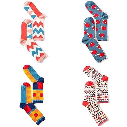 FuweiEncore Calcetines deportivos originales impresos Calcetines largos originales para verano, juego de 4 (Color