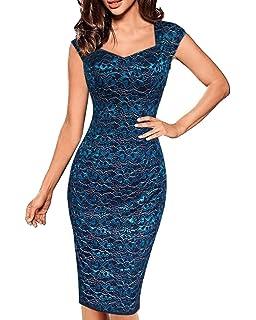 c814d305a5ef Damen Elegant Sommer Kleid Spitzen 3 4 Arm Wickelkleid Cocktailkleid  Bodycon Bleistift Spitze Kleid