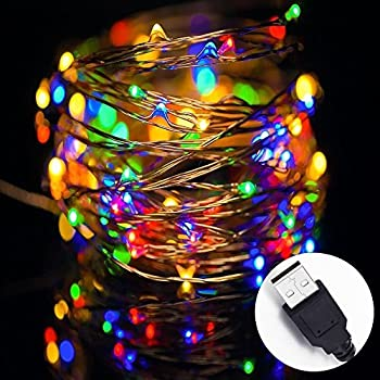 led string lights solla string copper wire lights usb powered 33ft 100leds color - Usb Powered Christmas Lights