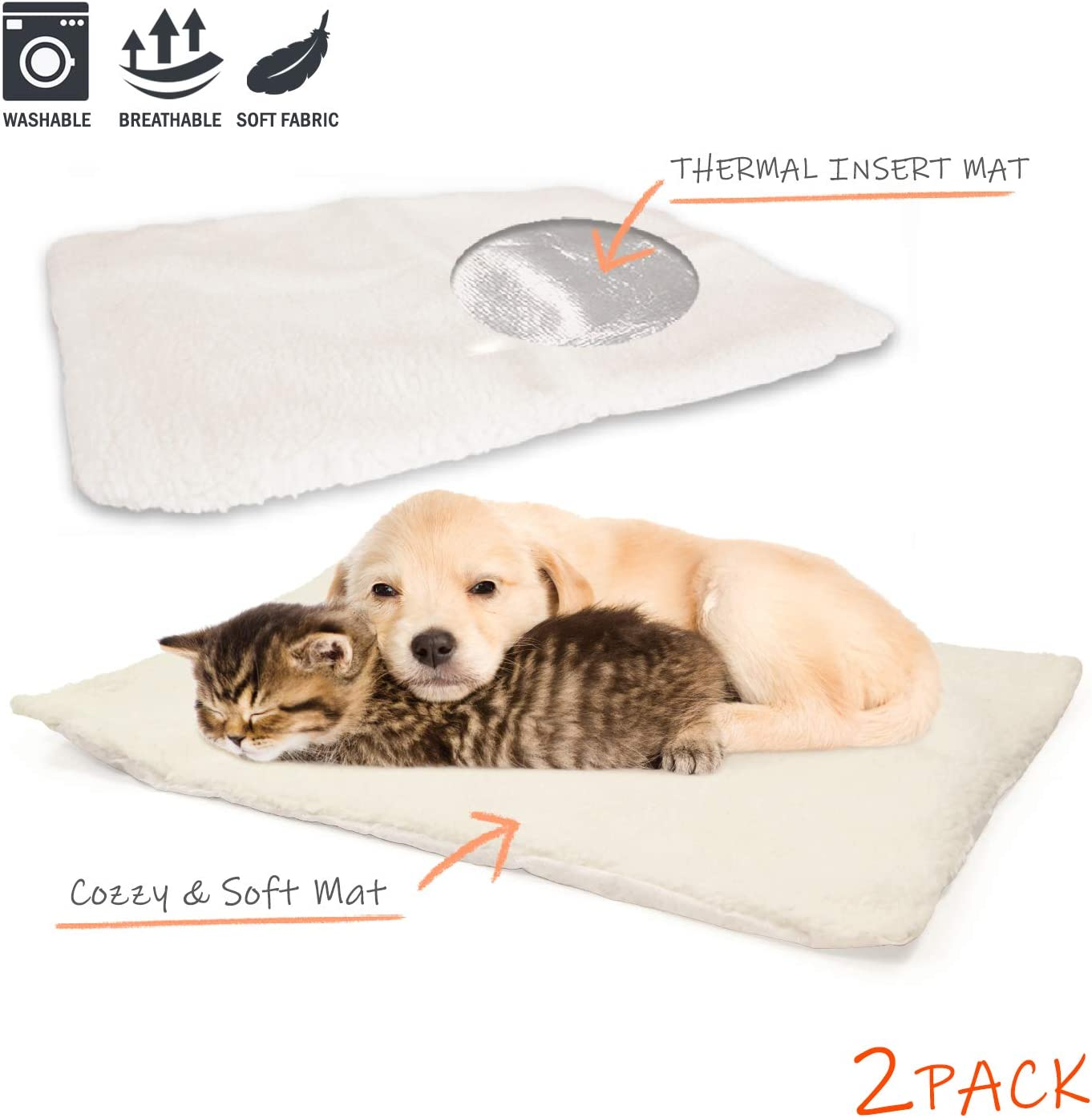 PARTYSAVING PET Bed 1PACK or 2PACK Self Heating Snooze Pad Pet Bed Mat for Pets Cats Dogs and Kittens for Travel or Home, White, Medium, APL1344, APL2255