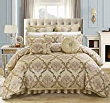 Chic Home 9 Piece Aubrey Decorator Upholstery Quality Jacquard Scroll Fabric Bedroom Comforter Set & Pillows Ensemble, King, Beige