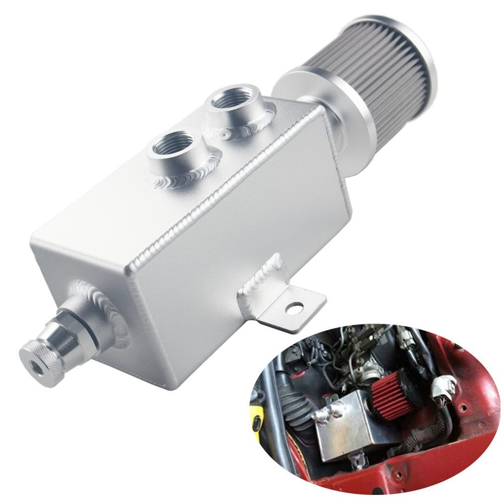 Dewhel Universal AN10 1L Aluminum Oil Catch Can Tank w/Breather Filter Drain Tap Baffled Silver