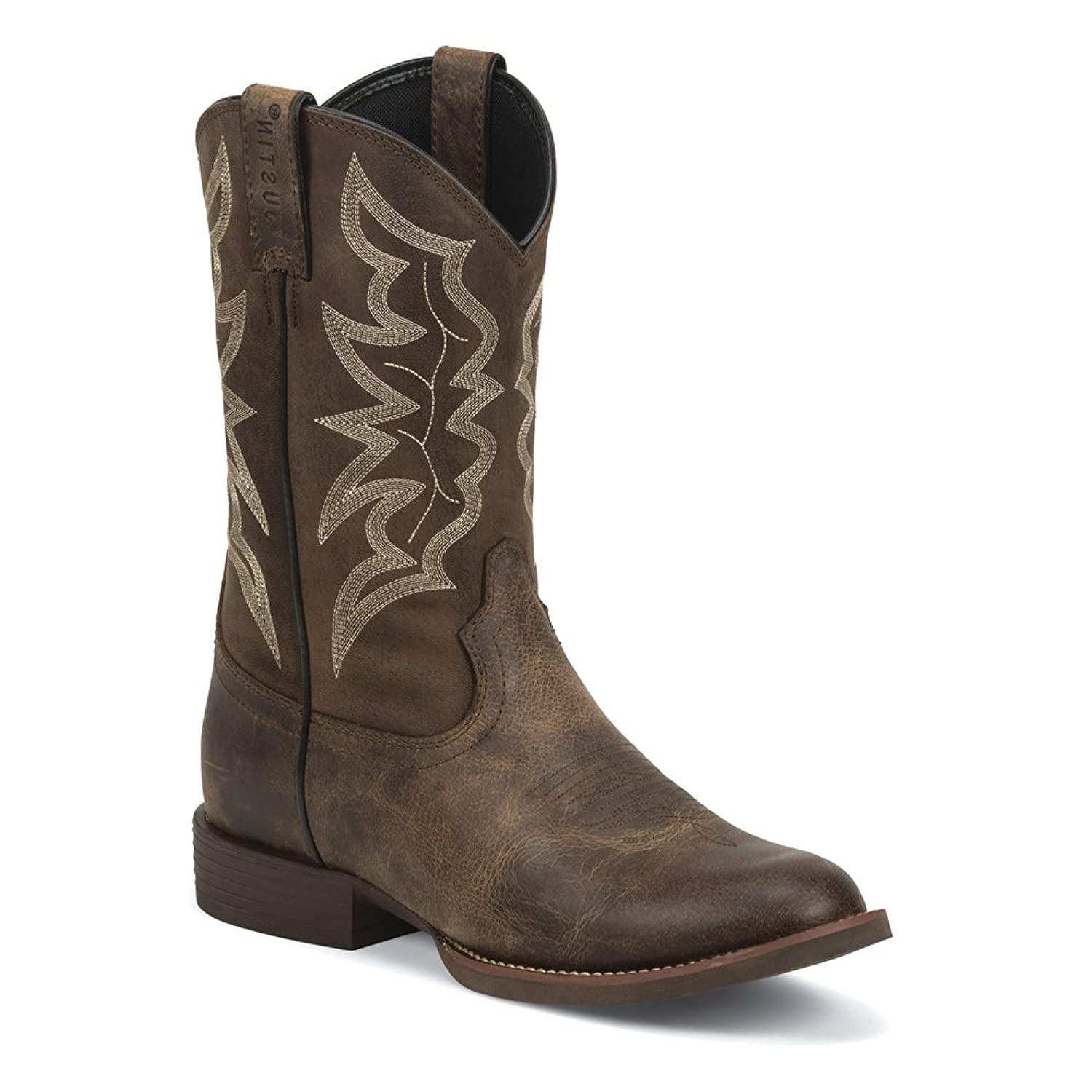 7221 Justin Men's Stampede Western Boots - Distressed Brown - 9.0 - D