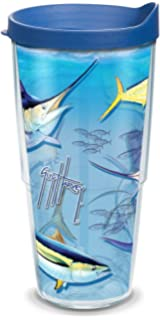 753b6ac62e1 Tervis 1075391 Guy Harvey - Big Game Tumbler with Wrap and Blue Lid 24oz,  Clear