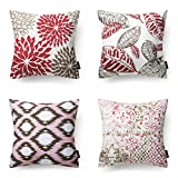 Decorative Pillow Cover - Phantoscope New Living Red&Brown Decorative Throw Pillow Case Cushion Cover Set of 4