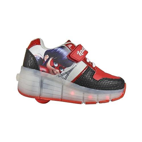 Zapatillas con ruedas y Luz Ladybug - cierre de velcro, Deportivas Led color Rojo las
