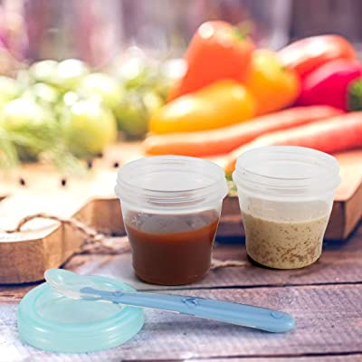 X-Chef Baby Food Storage Containers, 6 Baby Food Containers with Airtight Lids and 2 Baby Spoons, BPA Free, 5 oz