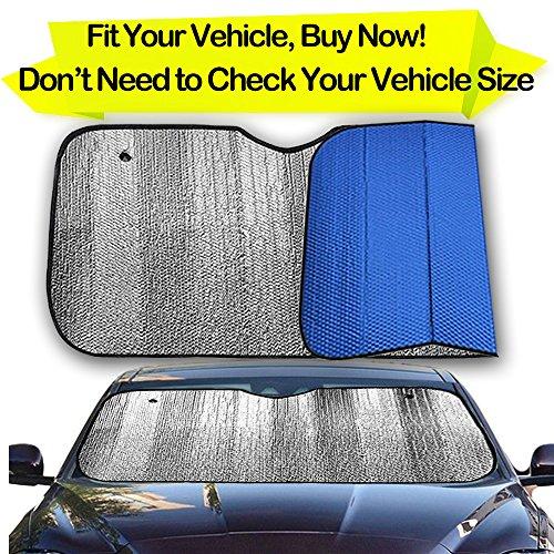 Bubble Shade (Big Hippo Front Car Sunshade Windshield-Jumbo/Standard Sun Shade Keeps Vehicle Cool-UV Ray Protector Sunshade-Easy to Use Sun Shade-Silver/Blue Sides(Size: 55