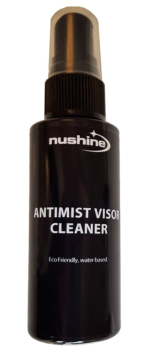 Nushine Anti-mist/Anti-fog Visor Cleaner 50ml Ecofriendly, Water Based and Solvent Free. Works on Motorcycle Helmets visors, Safety Helmets, Glasses, Goggles and Mirrors