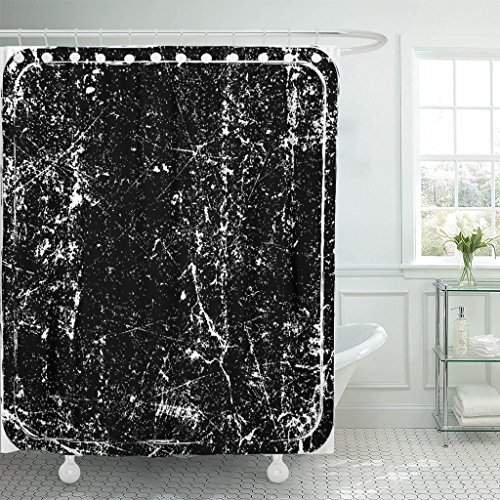 Review VaryHome Shower Curtain Black Ink Grunge Rubber Stamp Aged Waterproof Polyester Fabric 72 x 72 inches Set with Hooks