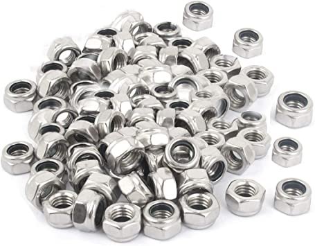 10 New M8-1.25 OR M8 Coarse Thread Nylon Insert Lock//Stop Nut Stainless Steel