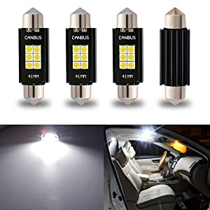 """iBrightstar Newest 9-30V Extremely Bright 212-2 578 Festoon Error Free 1.61"""" 41mm LED for Interior Map Dome Lights and License Plate Courtesy Lights, Xenon White"""