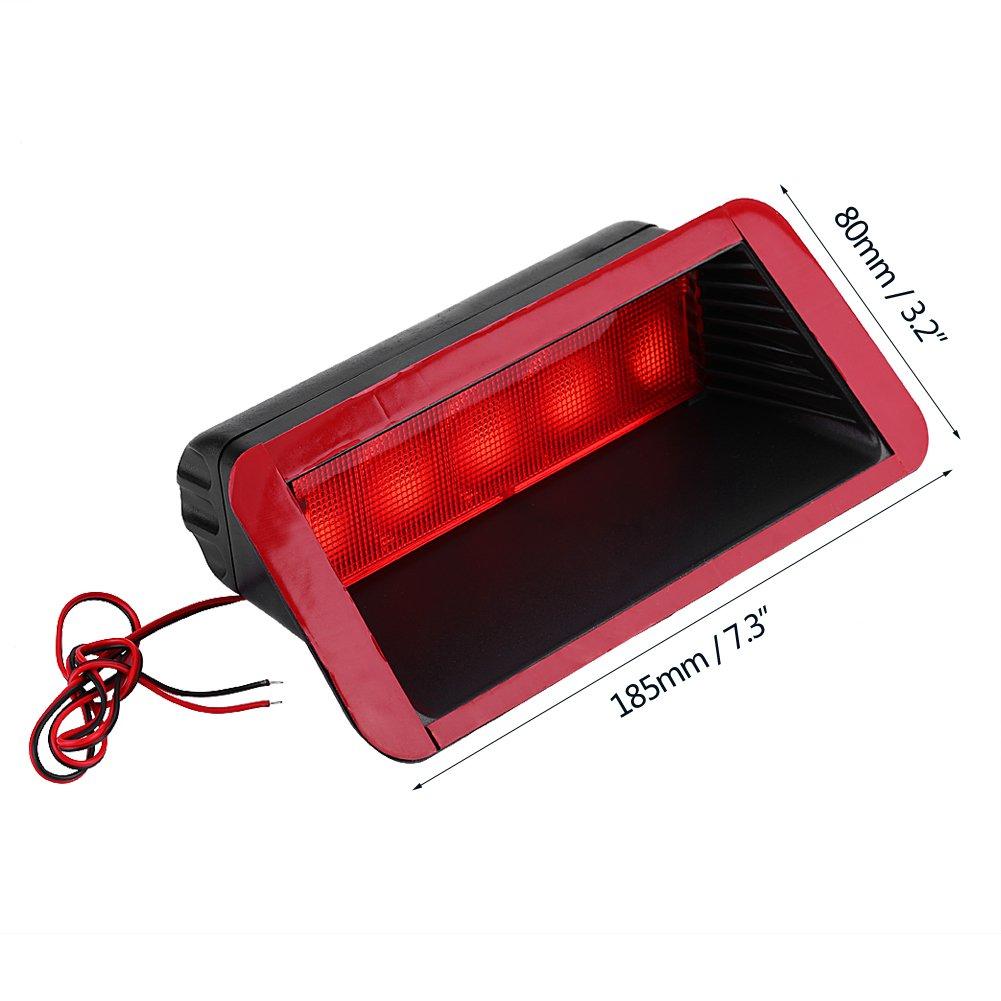 5 LED 12V Universal Car High Mount Rear Third 3rd Brake Stop Tail Light Lamp Red Qiilu Car Third Brake Light