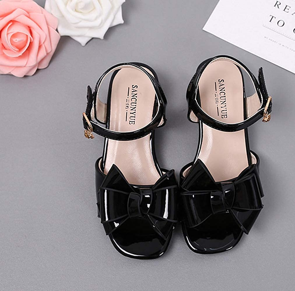 LFHT Kids Patent Leather Dress Shoes Girls High Heels Pumps Summer Open Toe Bow Kitten Heel Sandals