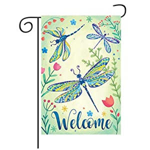 Welcome Quote Outdoor Garden Flag , Burlap Double Sided Dragonfly Flower Yard Flags, Spring Garden Flag Rustic Farmhouse Yard Outdoor Decoration