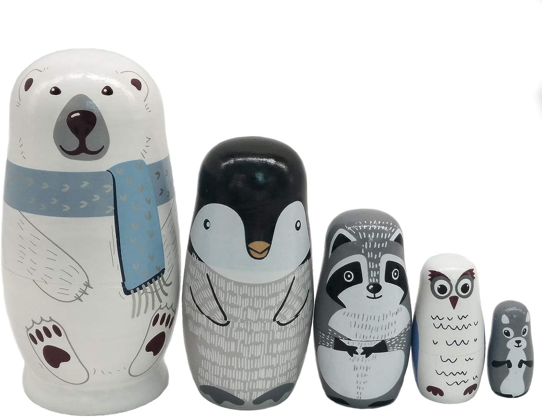 Konrisa Russian Nesting Dolls 5 Piece Set Polar Bear Penguin Owl Matryoshka Dolls Handmade Figurine Wooden Stacking Toys Home Decor New Year Birthday Party Supplies