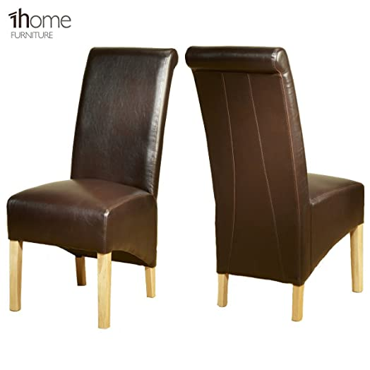 Home Leather Dining Chairs Scroll High Top Back Oak Legs - Leather dining chairs uk