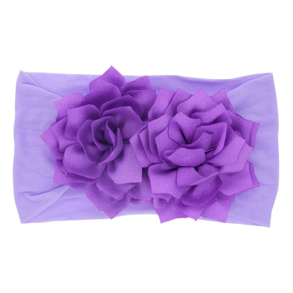 Kids Baby Girls Hair Accessories Newborn Infant Baby Hair Bow Flowers Cute Elastics Headbands (Purple)