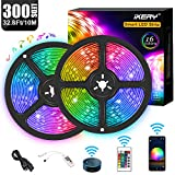 IKERY WiFi LED Strip Lights 10m/32.8ft, Smartphone Controlled LED Strip Kit RGB Waterproof IP65 150 LEDs 5050 LED Lights, Music Sync, Voice Control Compatible with Alexa Echo, Google Assistant, IFTTT