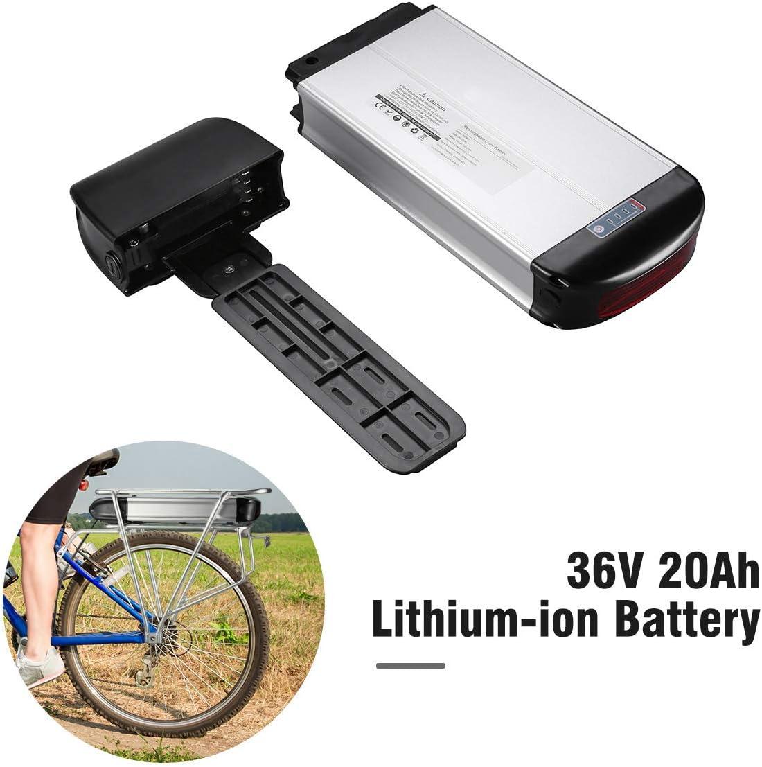 36V 20AH para Bicicleta el/éctrica E-Bike Lanceasy Bateria Bicicleta 36v HA074-4 Paquete de bater/ía con Soporte Trasero con Soporte